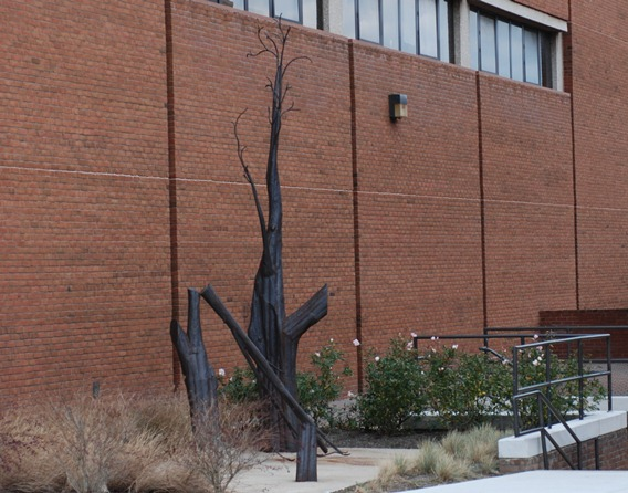 "From The Retriever (vol. 11, no. 2): ""'Mnemonic' is a collection of steel trees in various stages of being chopped down. The sculpture is a statement that perhaps speaks to the construction of the students commons [the University Center] going on next to it. It is the work of Marc O'Carroll a sculptor who worked and studied here. The piece was made in our own studio and its construction took almost two years of dedicated labor.The word mnemonic refers to an aide to memory, derived from the name of the Greek goddess of memory Mnemosenye. O'CarroIl's trees are a statue in honor of, or recalling the memory of a huge and ancient sycamore tree which stood on this campus years before even Spring Grove was built here. When UMBC moved onto the scene the tree found itself behind the Dining Hall. It was an amazingly beautiful tree and O'Carroll enjoyed it during his first years here. But then one day the tree was gone. It was sawed down and buried (they couldn't afford to do anything with it) in order to build a short driveway for trucks to pull into (who cares about a dumb tree when there's a Macke truck at stake). So O'Carroll carried the memory of that sycamore with him until the day the school commissioned him to do a sculpture for the new Fine Arts building. Painstakingly he welded his memory into steel and now it stands on display for all to see. The tree is gone and so is Marc O'Carroll but the Mnemonic carries on."""