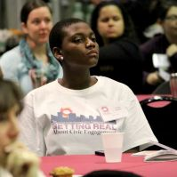 UMBC undergraduate Yvette Pappoe served as a reflection guide.