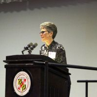 Bev Bickel, professor of Language, Literacy & Culture and Acting Director of UMBC's Dresher Center for the Humanities, introduced President Hrabowski.